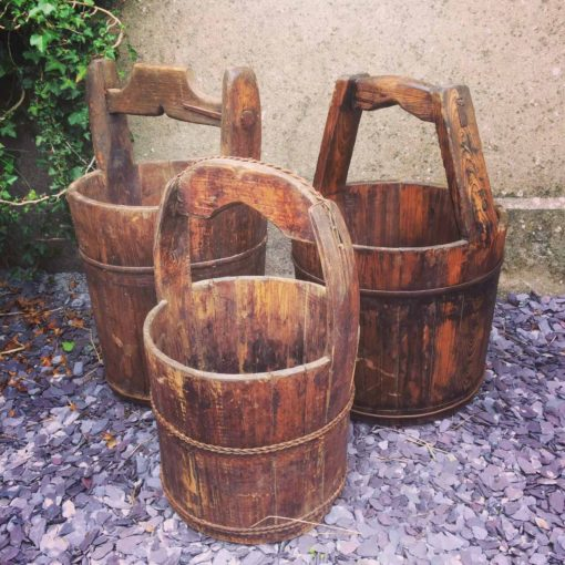 Selection of Rustic Wooden Buckets