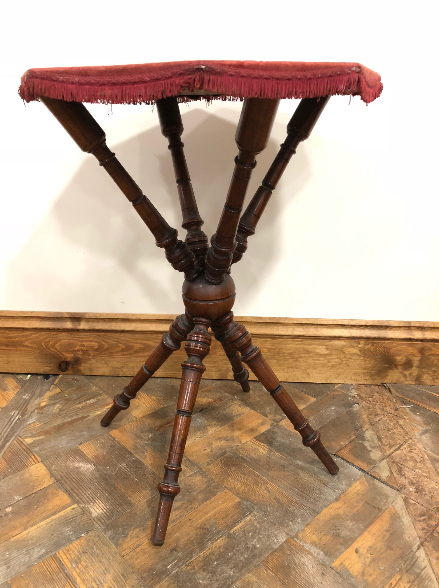 Antique Gypsy Style Table with Fabric Top