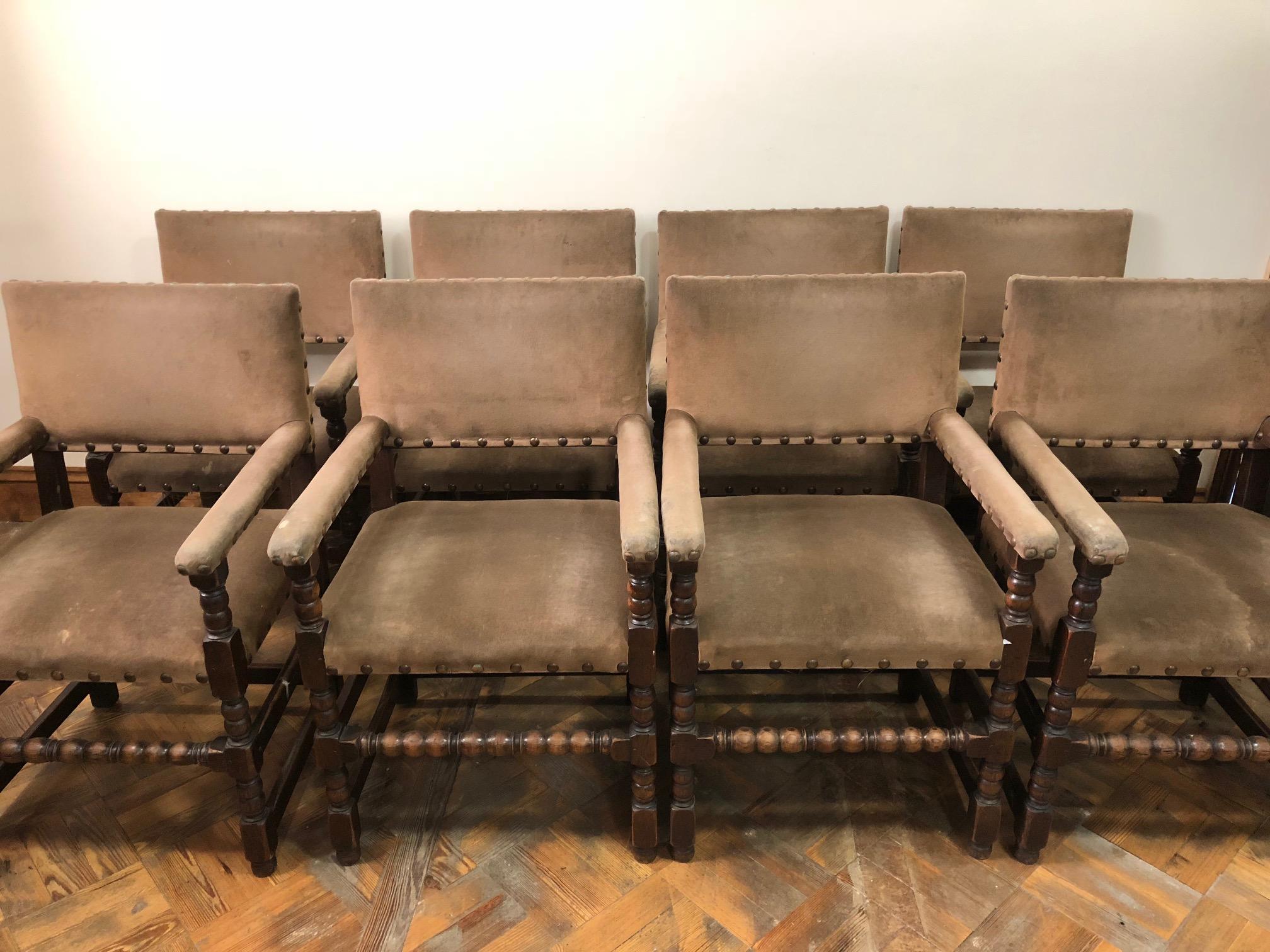 Set of Eight 17th Century Style Armchairs