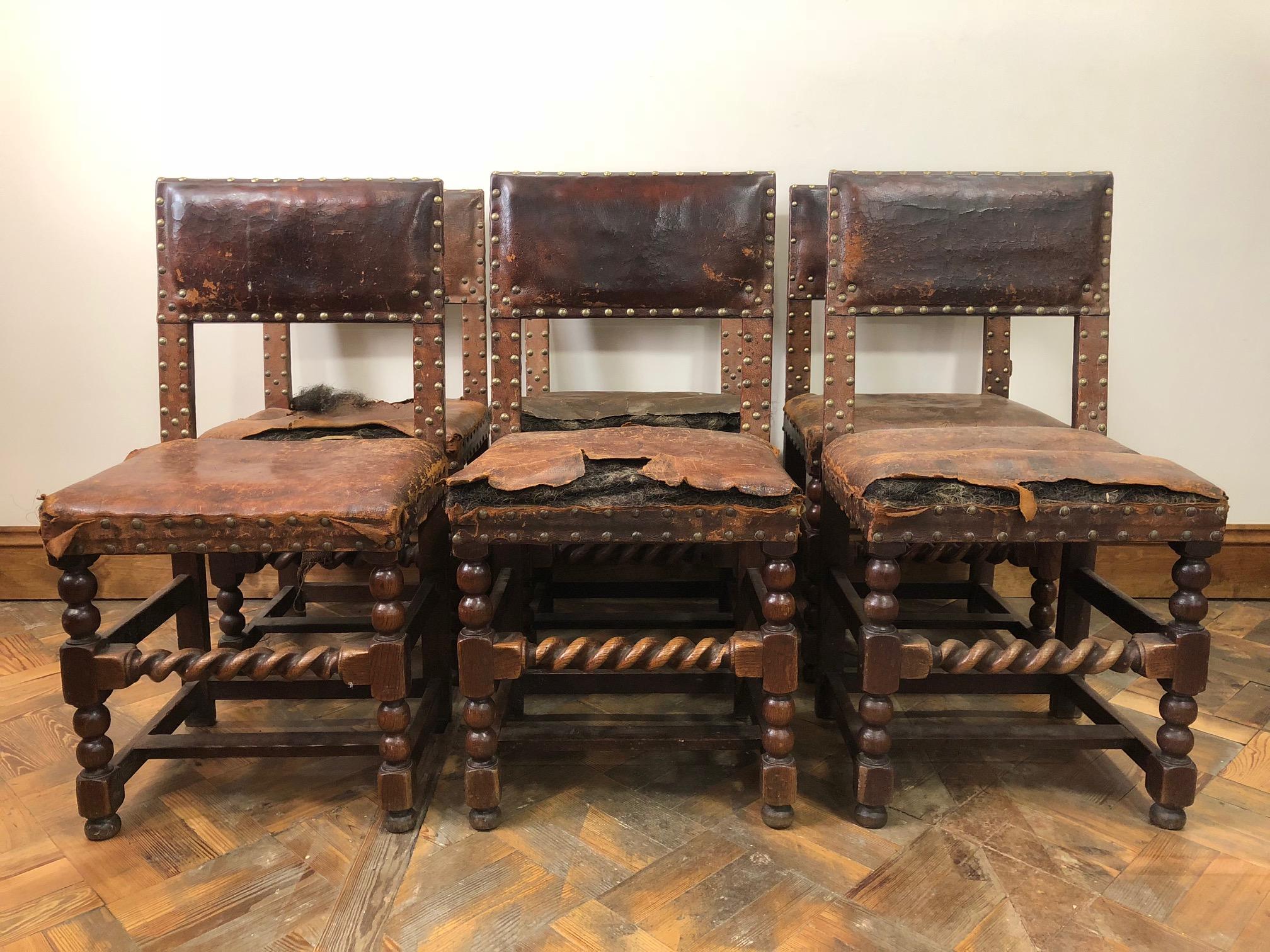 Set of Six Late 17th Century Oak Chairs