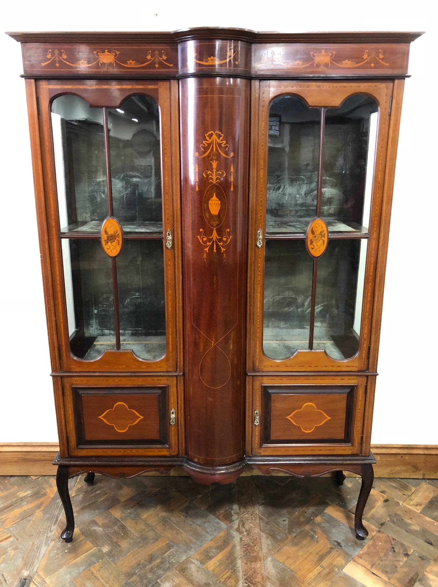 Edwardian Mahogany Inlaid Glass Display Cabinet