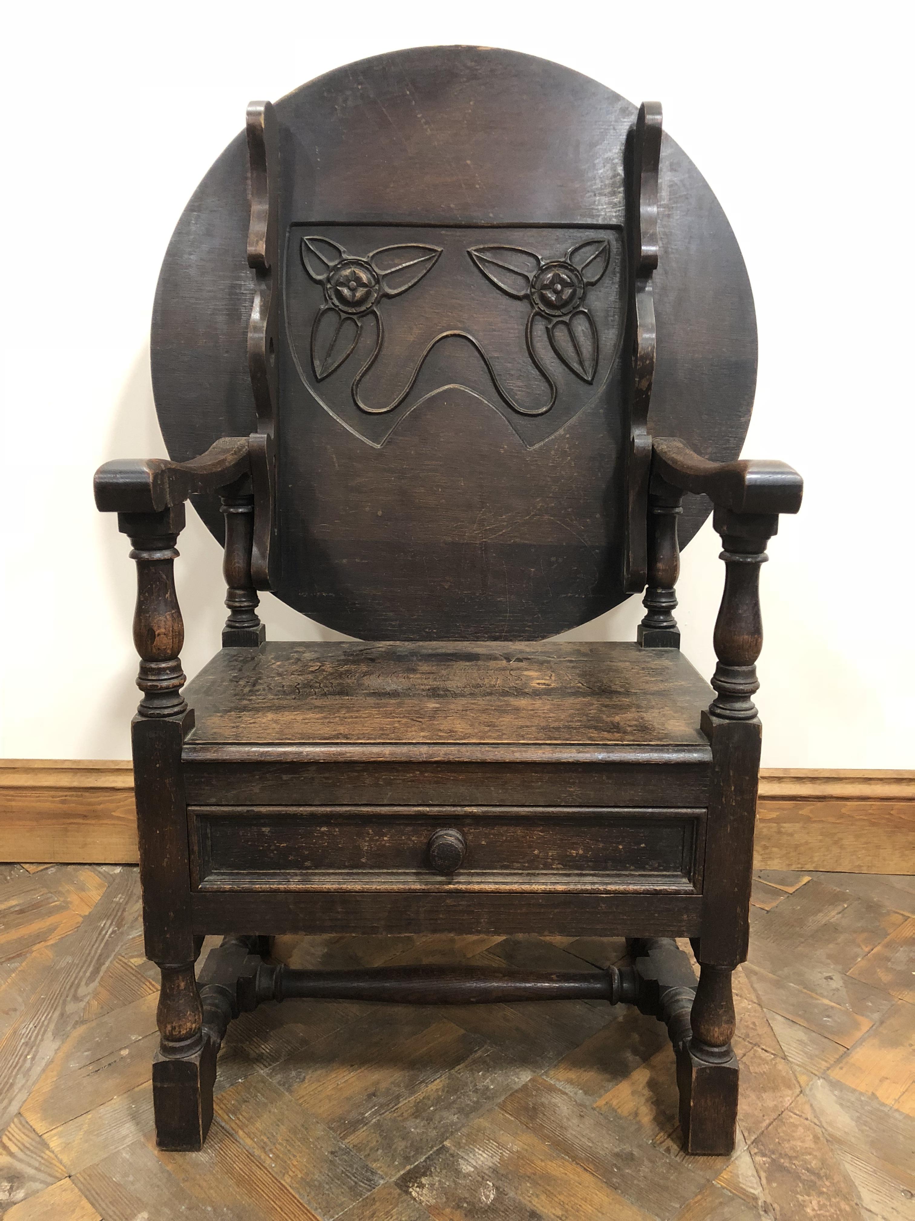 An Unusual Antique Oak Monks Seat Bench