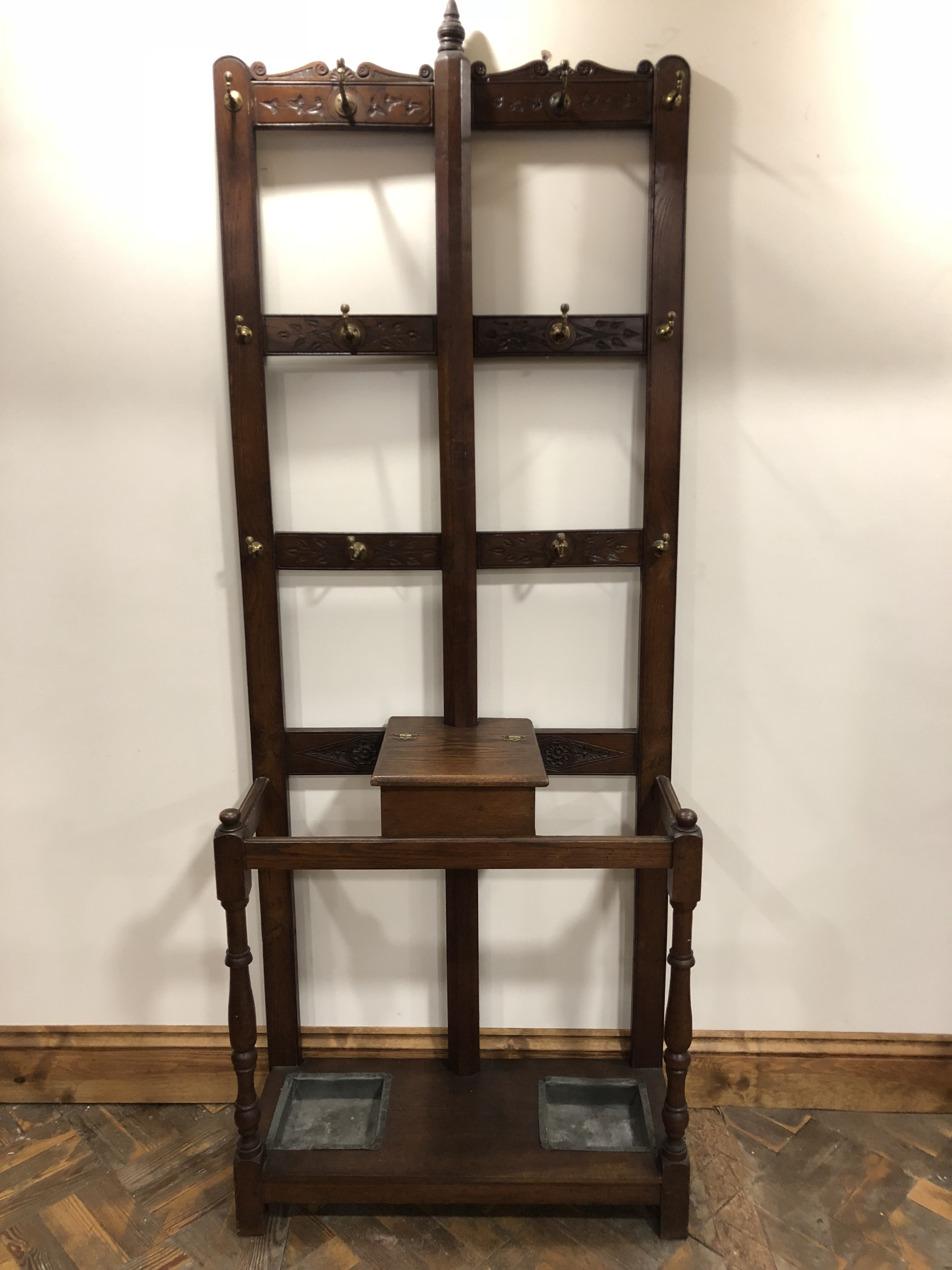 Antique Oak Hat and Coat Hall Stand