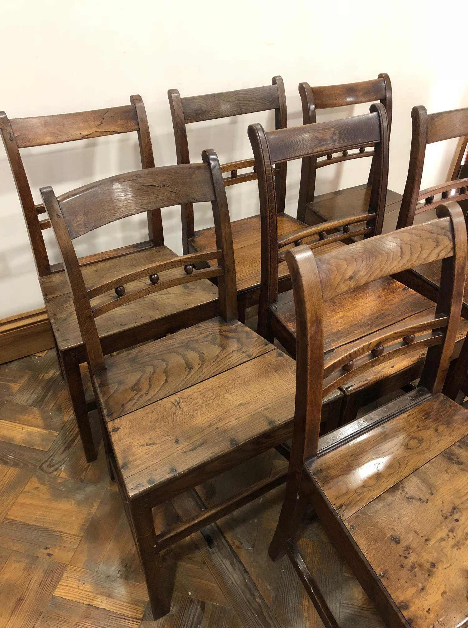 Harlequin Set of Eight Welsh Oak Farmhouse Kitchen Chairs
