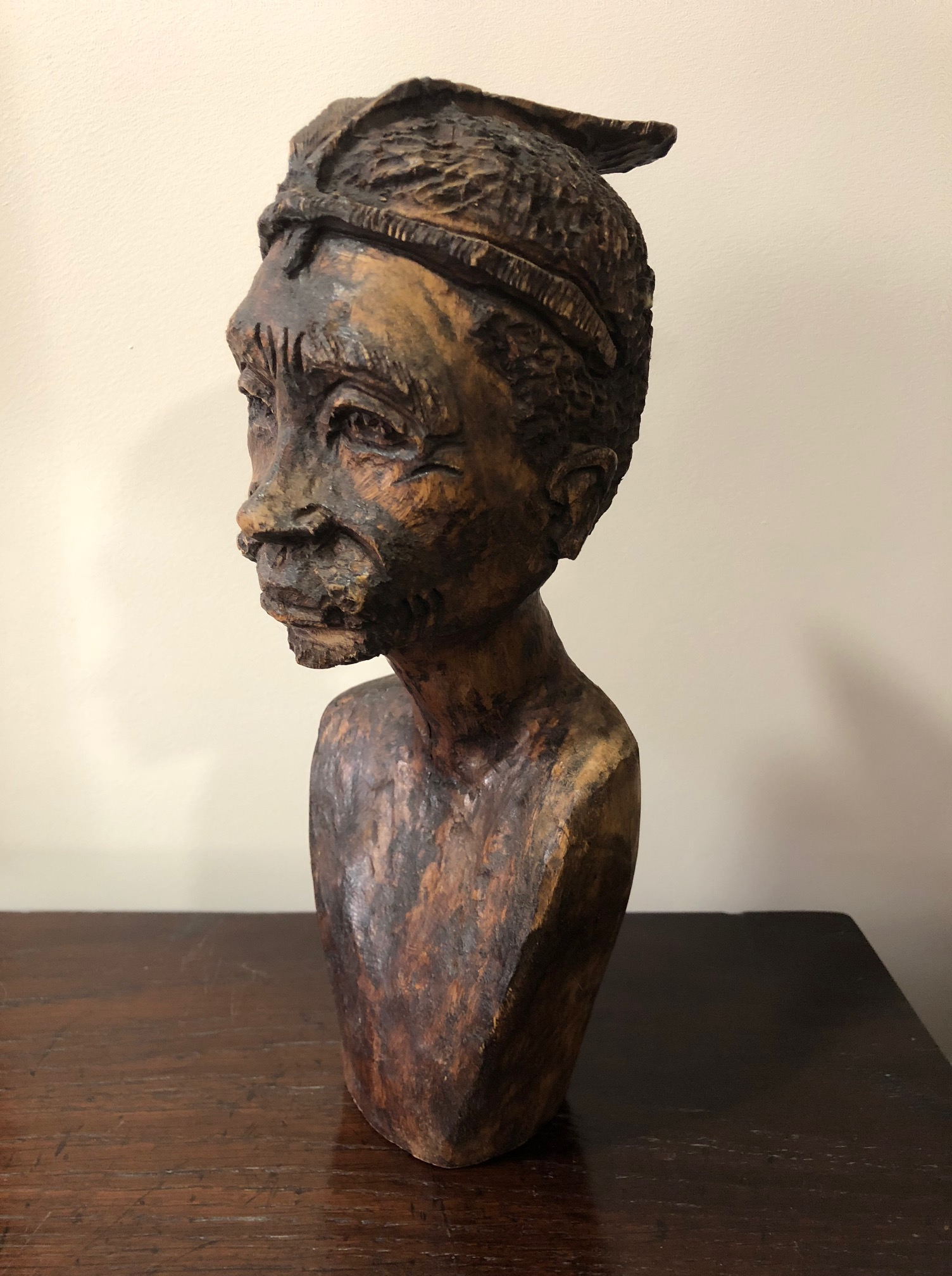 Hand Carved Wooden African Head