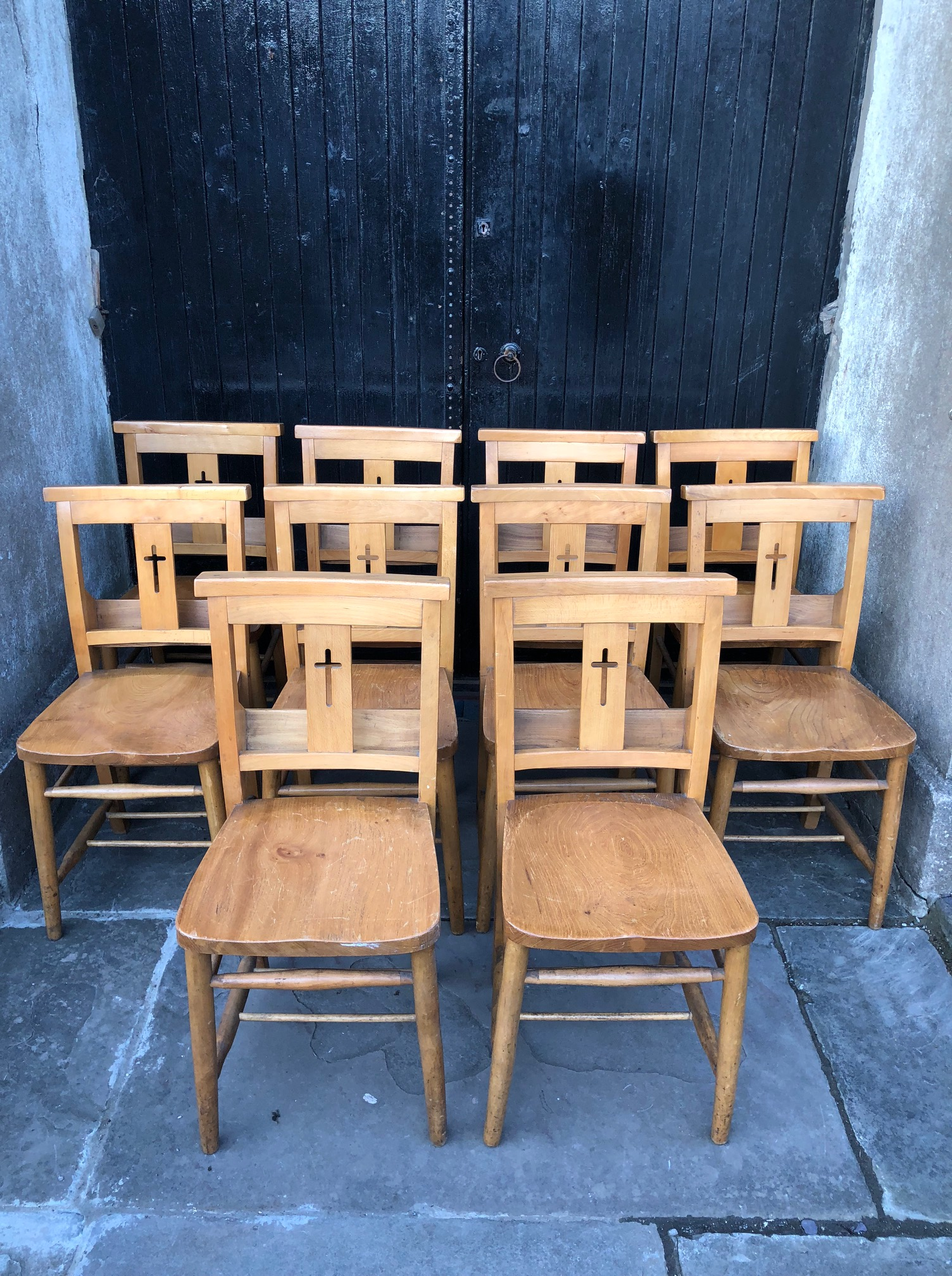 Set of Ten Chapel or Church Chairs